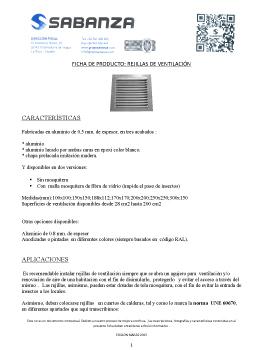 Ficha de producto: Rejillas de ventilación