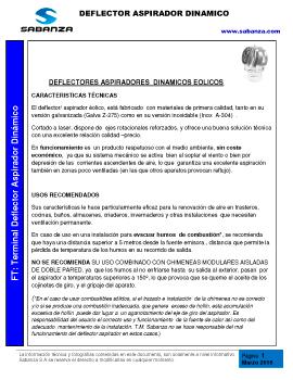 Ficha Técnica: Terminal Deflector Aspirador Dinámico