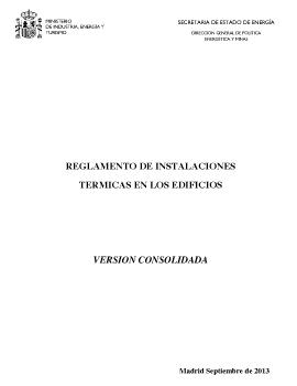 Reglamento de Instalaciones Térmicas de los Edificios (RITE Sept.2013)