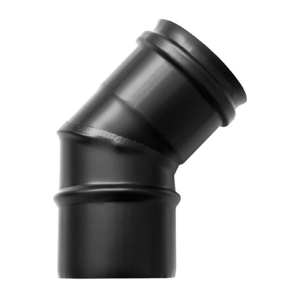 Codo a 45 Simple Pared Vitrificado Negro Fonté 0,8mm.