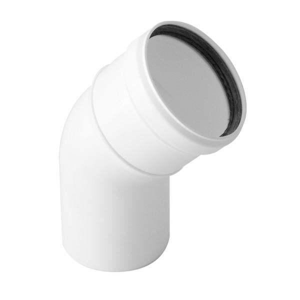 Codo a 45 Simple Pared Plástico PPS