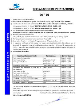 Declaración de Prestaciones DpD 01. Doble Pared Inox-Inox A-316L/A-304