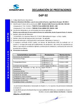 Declaración de Prestaciones DpD 02. Doble Pared Inox-Inox A-304/A-304
