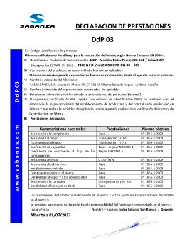 Declaración de Prestaciones DpD 03. Doble Pared Inox-Galva A-304/Z-275
