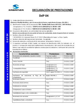 Declaración de Prestaciones DpD 04. Flexible Doble Pared Inox-Inox A-316/A-316