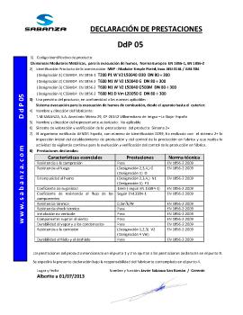 Declaración de Prestaciones DpD 05. Simple Pared Inox A-316L y Simple Pared Inox A-304