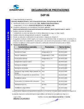 Declaración de Prestaciones DpD 06. Simple Pared Plástico (PPS)