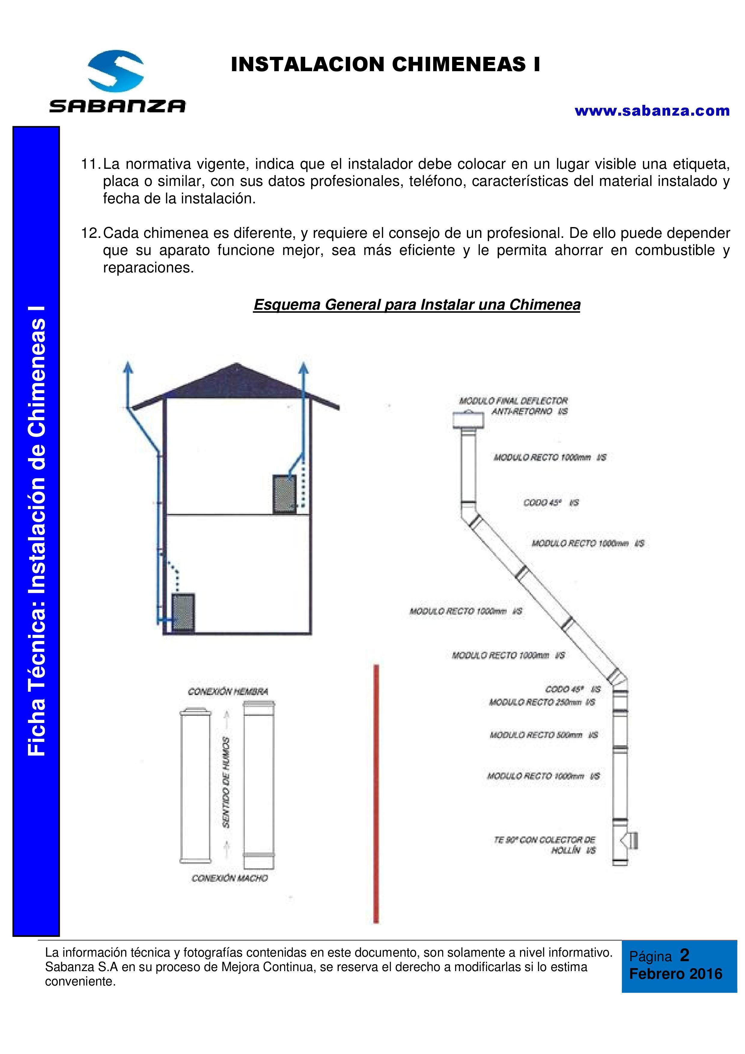 Ficha Técnica: Instalación de Chimeneas I