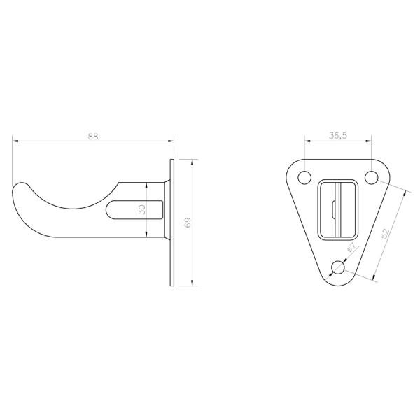 Soporte Radiador Alicatar Placa Triangular SRCAT085 croquis