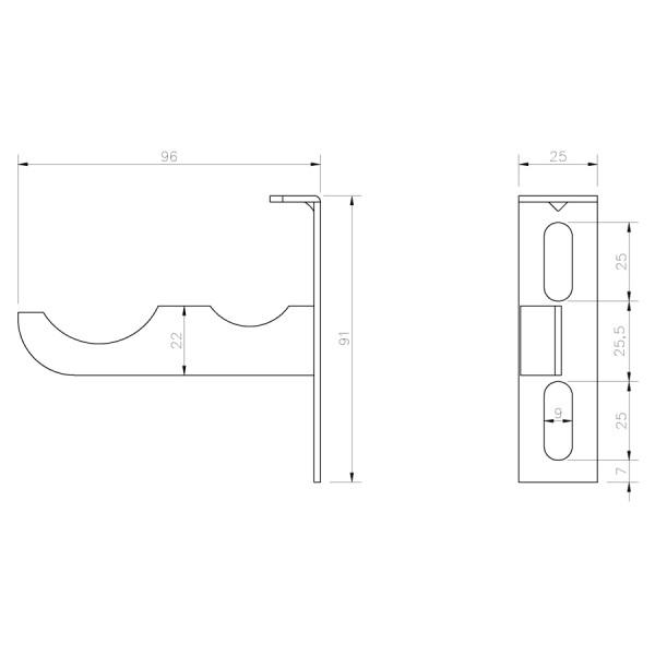 Soporte Radiador Aluminio Alicatar SRAAFP croquis
