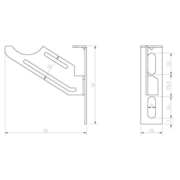 Soporte Rdiador Aluminio Alicatar SRAAO croquis