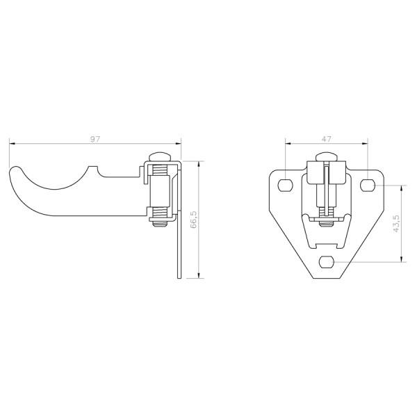 Soporte Radiador Aluminio Alicatar SRAATR croquis