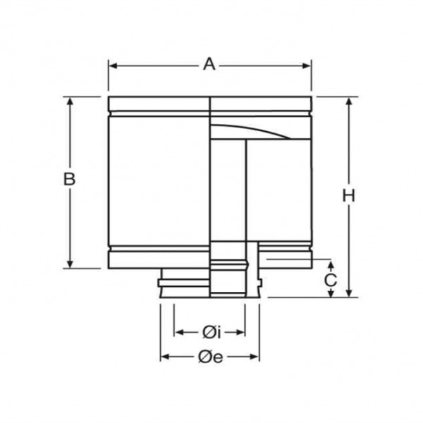Croquis Deflector Antirrevoco Simple Pared Inox A-304 MATE