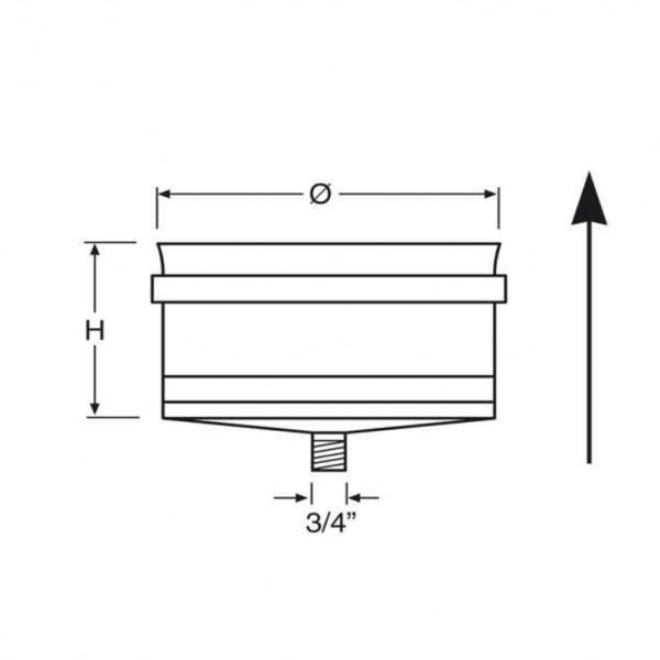 Tapa con Desagüe Simple Pared Inox A-304