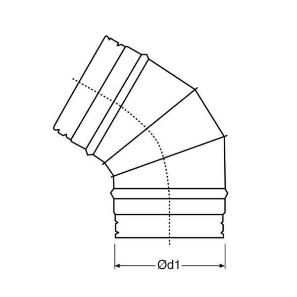 Codo a 45º de simple pared 0,8 mm. espesor croquis