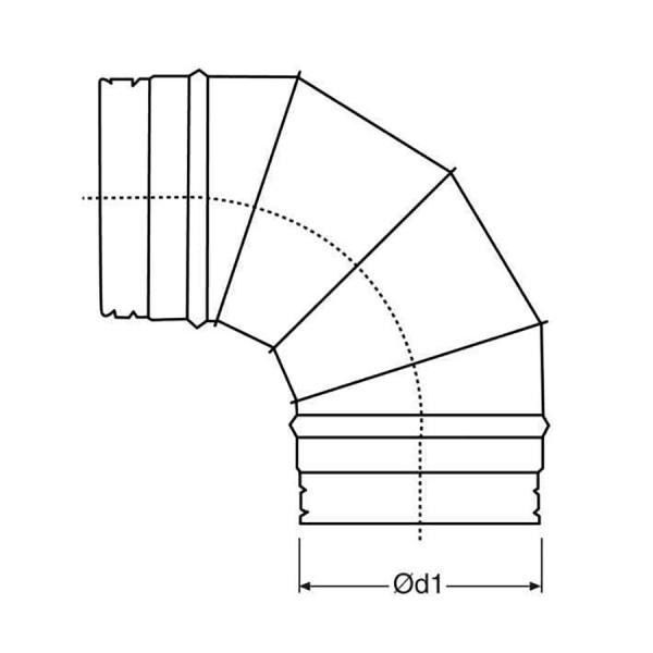 Codo a 90 Simple Pared Galvanizado Z-275 Croquis