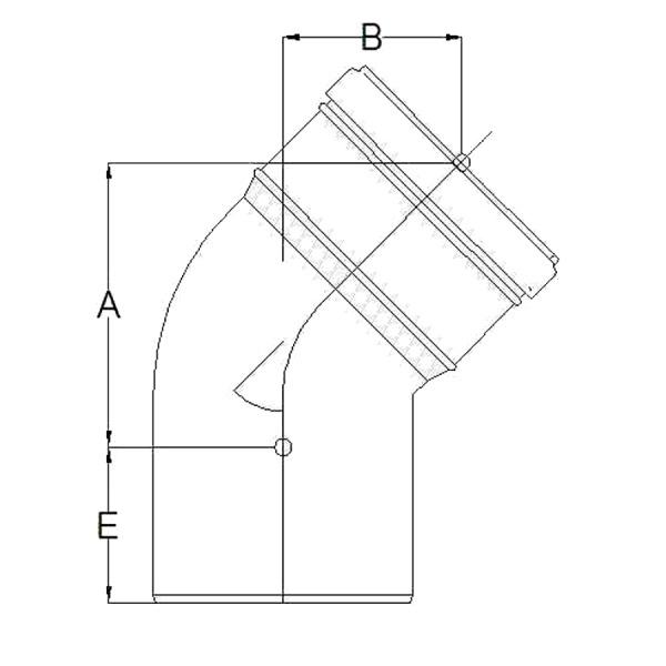 Codo a 45º Plástico Pared Simple Croquis